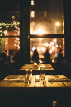 Table for two at The Grey Lady, NYC.   by Courtney Tight