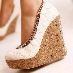 cute wedges. I neeeeeeed these! wedge shoes, fashion shoes, wedge heels, chains, white, corks, wedges, platform shoes, girls shoes