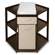 Corner Diaper Changing Table with Hamper and Basket - great for small spaces