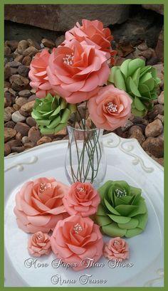 Custom Handmade Paper Flowers - #wedding #table #decorations #paper #flowers #stemmed #bouquets #Salmon #Apple Green