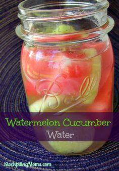 Watermelon Cucumber Water http://www.stockpilingmoms.com/2013/06/watermelon-cucumber-water/
