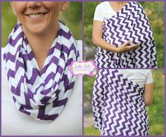 Hold Me Close Nursing Scarf - Jeweled Purple Chevron, Nursing Cover, Infinity Scarf, Infinity Nursing Scarf