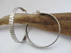 Big Urban Chic Striped Hoop  hand forged sterling silver with hand hammered lines on the front and sides by JoDeneMoneuseJewelry