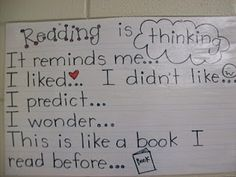 Reading is thinking. (Several good reading anchor charts)
