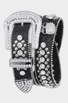 MotoChic Black Leather Crystal Skull Belt--Lots of Crystals and Silver Studded Bling
