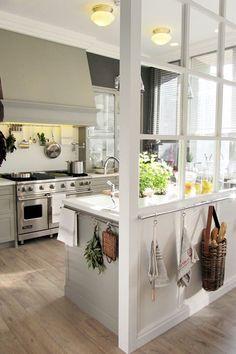 love these windows through the kitchen