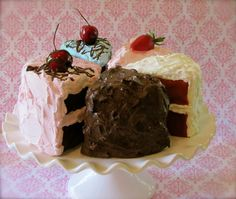 """Fake Cake Slices """"Retro Cookbook Cake Collection"""" Your Choice 3 Fab Photo Props/Bakery Decor/Can Be Ornaments/Biz Card Holders. $48.00, via Etsy. ( Ok not a cupcake but Cute none the less XD )"""