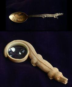 allig louisiana, glasses, 1900s allig, souvenir salt, bones, salt spoon, magnifi glass, louisiana souvenir, alligators