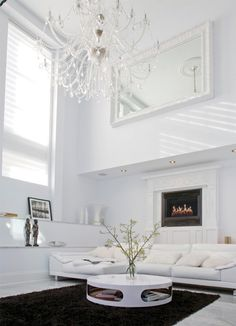 white candy living interior.