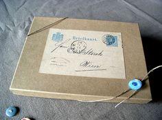 kraft gift, gift boxes, vintage, packag, vintag postal