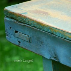 Primitive Wooden Bench refinished in Destin Gulf Green, Blue Montana Sky and Alaskan Tundra Green by Shizzle Design of West Michigan.  See much more of our hand painted furniture at: http://alittlebitoshizzle.blogspot.com/p/for-sale.html