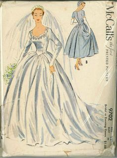 Bridal Gown and Bridesmaid Sewing Pattern McCall's 9702 ca.1954