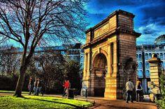 Entrance gate to St.Stephens Green Park, beside Grafton Street, Dublin City Centre, Ireland