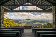 Pretty Place Chapel - Mountain Chapel in the Clouds  A striking autumn afternoon at Pretty Place Chapel, overlooking the mountains of Upstate South Carolina near Greenville. This open air mountain chapel is an amazing place to visit, offering stunning views of the Blue Ridge Mountains at any time of the year. It is a very popular place for weddings and it's easy to see why!