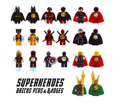 BRICKS Superheroes Pin Badges 10Piece Set  by QuirkyShoppe on Etsy, $52.90