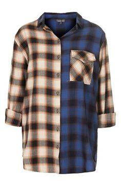 Oversized Mixed Plaid Shirt