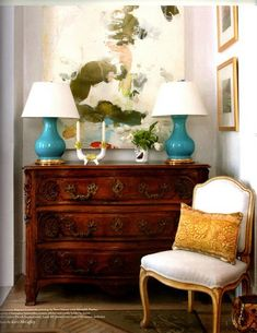 Turquoise lamps and carved chest