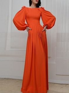 Red Puff Sleeves Maxi Dress