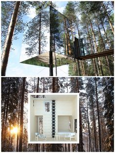 Mirrorcube TreeHotel in Sweden. This amazing treehouse is camouflaged by mirrored walls. It's also clad with infrared film (invisible to humans, but visible to birds).