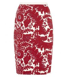 Nougat London Carla print skirt, Red with a cute red or white crop top and chunky gold jewelry!