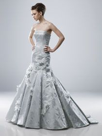 Silver colored wedding dress