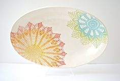 Rainbow (green, blue, yellow, orange, red) Fiesta Deep Platter - Ready to be shipped on Etsy, Sold