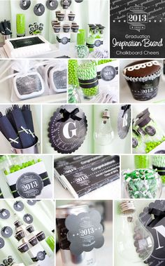 color schemes, inspiration boards, grad parties, party printables, chalkboard, green party, parti idea, graduation parties, graduat parti