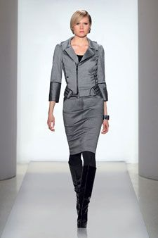 """ETCETERA - """"Industrial"""" a stretch cross-dye twill motorcycle jacket & trouser-styled pencil skirt."""