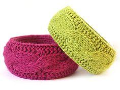 Wool bracelet  pink & green by woolwild on Etsy, $18.00