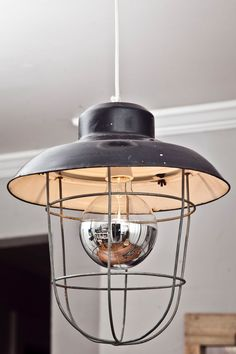 Salvaged Industrial Light with Cage.