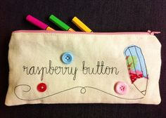 Personalised Pencil Case with Embroidered Name  by RaspberryButton. Great teacher gift!
