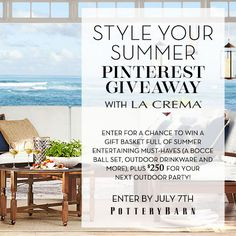 Pinterest Contest! Enter now for a chance to win a gift basket from @Potterybarn and $250 from @lacremawines!