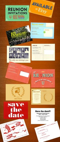 Invitations from Reunions magazine! We have many personalized and custom invite options to help your reunion planning process. These postcards are the perfect reminder for your invitees to RSVP. Simple, clean, and graphically sound, Reunions magazine can cover all of your invite needs.