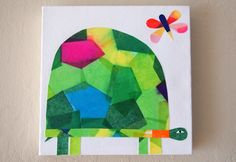 Craft idea for The Babes' room.  Not a turtle - perhaps a dancer, an umbrella, a flower...