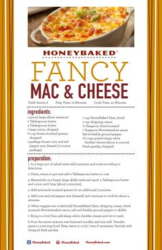 HoneyBaked Fancy Mac & Cheese  #HoneyBaked #Ham #Macaroni #Recipe  www.HoneyBaked.com
