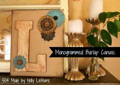 Monogrammed Burlap Canvasand a Hometalk and Michaels Pinterest Party