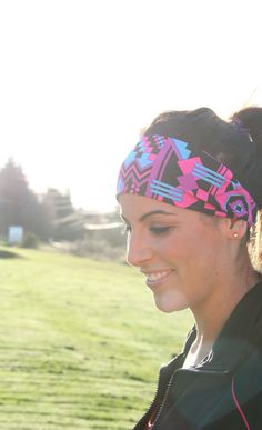 Neon Geo 80's Style Fithappy Workout Headband Item 016 by FitHappy, $14.95