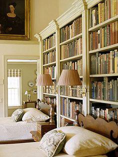 bookshelves behind beds,nice