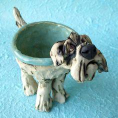 White Doodle Dog Ceramic Bowl by RudkinStudio on Etsy