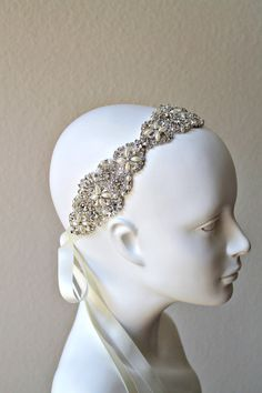 Bridal beaded crystal rhinestone applique headband.  Ivory pearl vintage wedding headpiece. on Etsy, $195.00