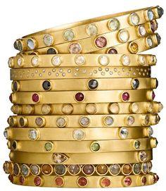 Stephanie Albertson, Gemstone stacking 14K Gold bracelets