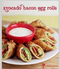 Avocado Bacon Egg Rolls - link is broken-- for recipe, go to: http://lilluna.com/avocado-bacon-egg-rolls/