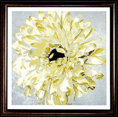 For an on-trend look, try adding this abstract #havertys Golden Flowers Framed Art to your space.