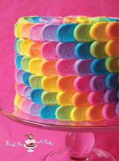 Rainbow Petal Cake - by Bird on a Cake