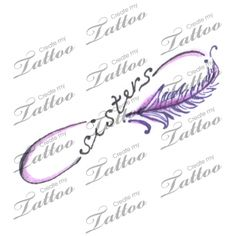 Sister infinity tattoos with feather