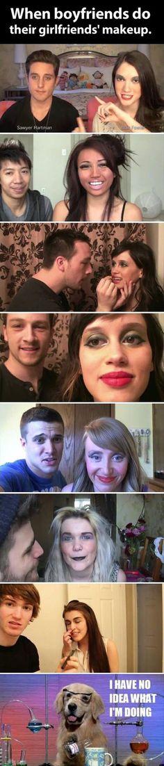 When boyfriends do their girlfriend's makeup