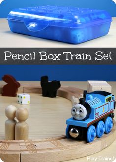 Pencil Box Wooden Train Set: a portable, travel-friendly way to bring wooden trains along on your child's adventures from Play Trains!