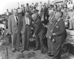 Former President Harry S. Truman at the groundbreaking ceremony for the Harry S. Truman Library, May 8, 1955.