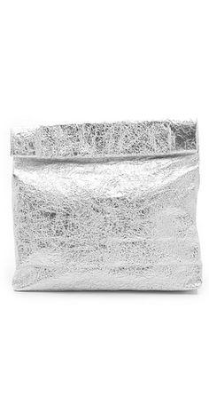 "Metallic ""Paper Bag"" Clutch. Amazing!"