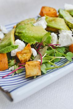 ... Goat Cheese and Avocado microgreen salads, summer salad, goat cheese